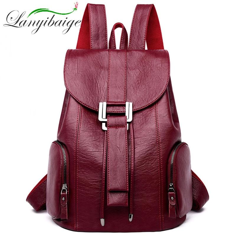 أزياء مصمم حقائب النساء حقيبة ظهر مصنوعة من الجلد الإناث المدرسة حقائب الفتيات السفر حقيبة الظهر ريترو Bagpack كيس من دوس