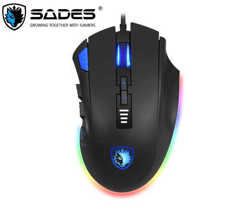 SADES S12 فأس الألعاب ماوس السلكية 12 أزرار البصرية مصابيح يندمج بها اللون الأحمر والأخضر والأزرق ماوس ل FPS و موبا اللاعبين