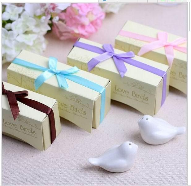 هدايا الزفاف ، سيراميك ، طيور الحب ، ملح وفلفل ، حفلة تذكارية ، 7 أنواع من الشريط يمكن أن تختار 300 قطعة = 150 مجموعة