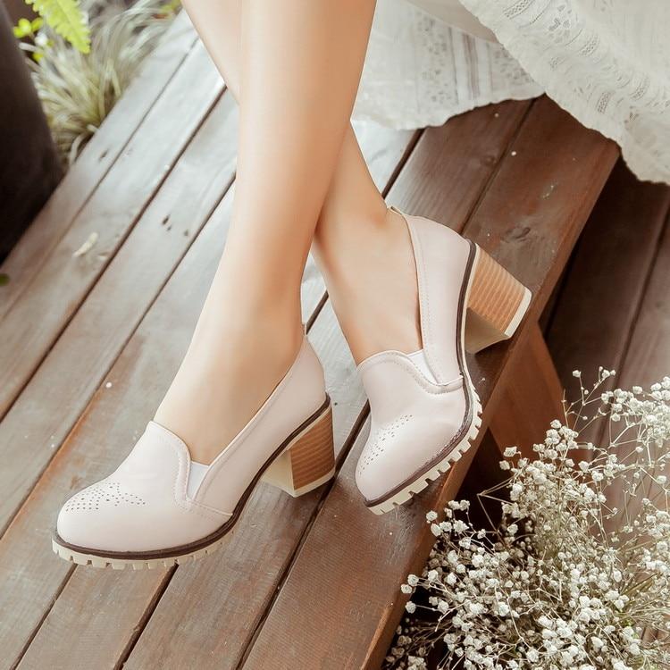 GOXPACER 2018 nuevo otoño mujeres bombas moda mujeres zapatos de tacón grueso boca baja mujeres tacones altos de talla grande envío gratis