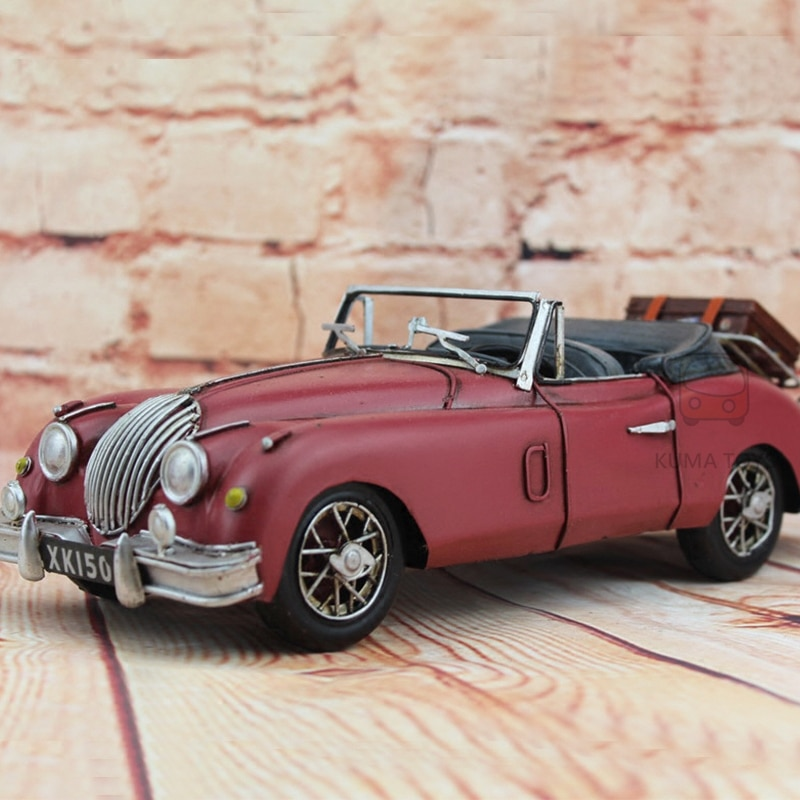 1959 clásico Jaguar coche rojo DIY 100% hecho a mano hoja de hierro modelo XK150 112 Retro Metal hecho a mano coche modelo Decoración