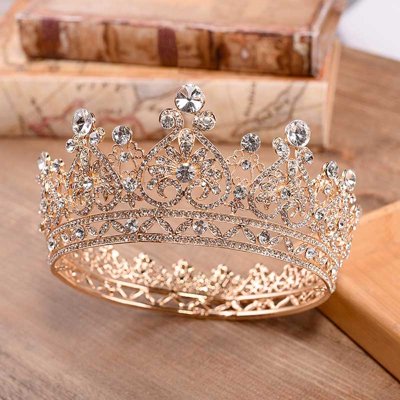 Joyería de princesa grande círculo completo de diamantes de imitación reina desfile corona Boda nupcial pelo joyería accesorios de vestido de novia