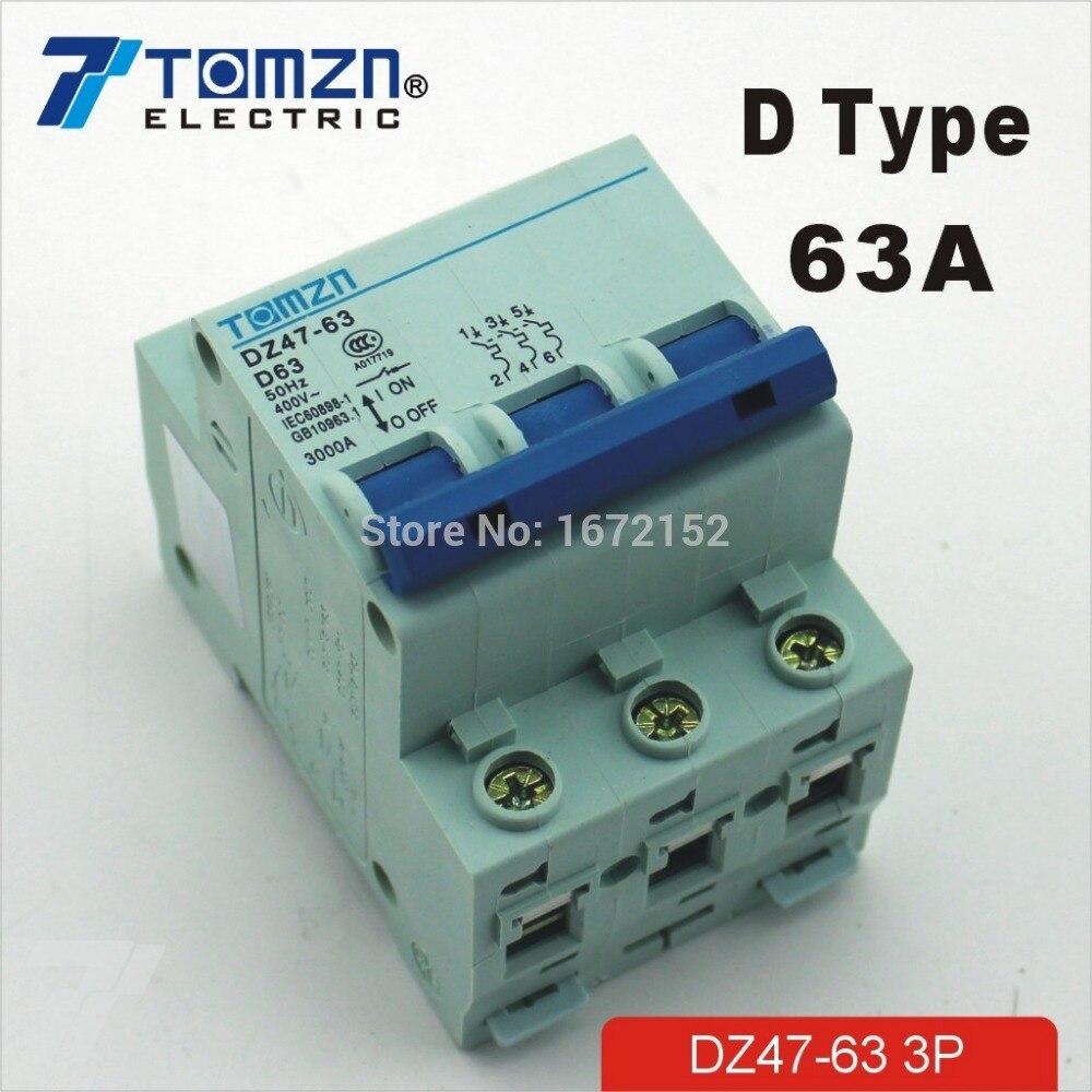 3 P 63A D Тип 240 V/415 V автоматический выключатель MCB 3 полюса