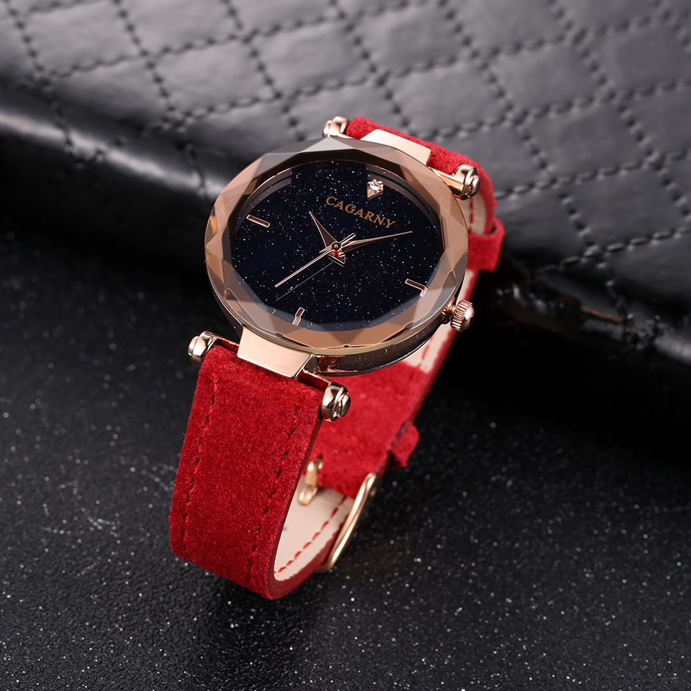 Women Watches Luxury Famous Brand Cagarny Women's Quartz Watch Crystal Vogue Leather Rose Gold Fashion Ladies Wristwatches Clock enlarge