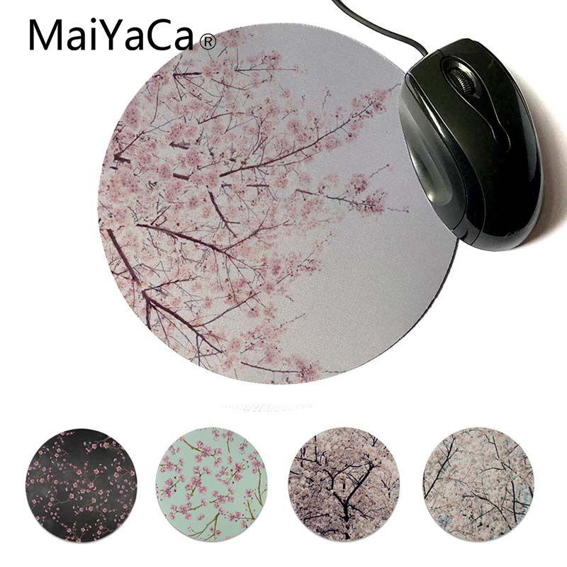 Игровые скоростные мыши красивое аниме MaiYaCa Cherry Blossom, розничная продажа, маленький резиновый коврик для мыши, индивидуальные круглые коврик...