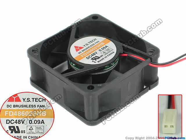 Y.S TECH FD486025HB DC 48V 0.09A 60x60x25mm Server Cooling Fan