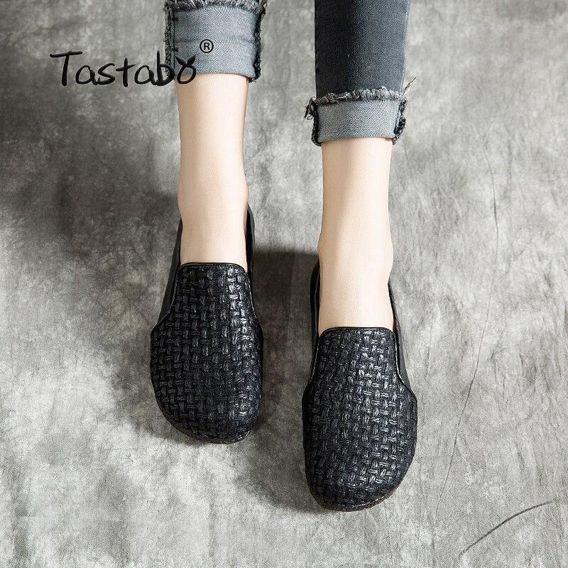 Zapatos de fondo blando de cuero de tastero, zapatos de mujer con boca cómoda estilo retro, zapatos de mujer salvajes, zapatos de Patrón de tejido para mujer