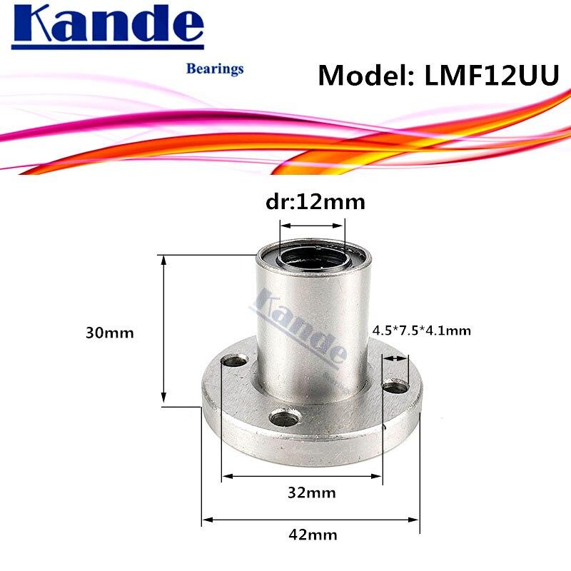 LMF12 UU 1 unids/lote LMF12UU, brida redonda de rodamiento lineal de 12mm LMF12 para impresora 3D SMF12UU rodamientos Kande