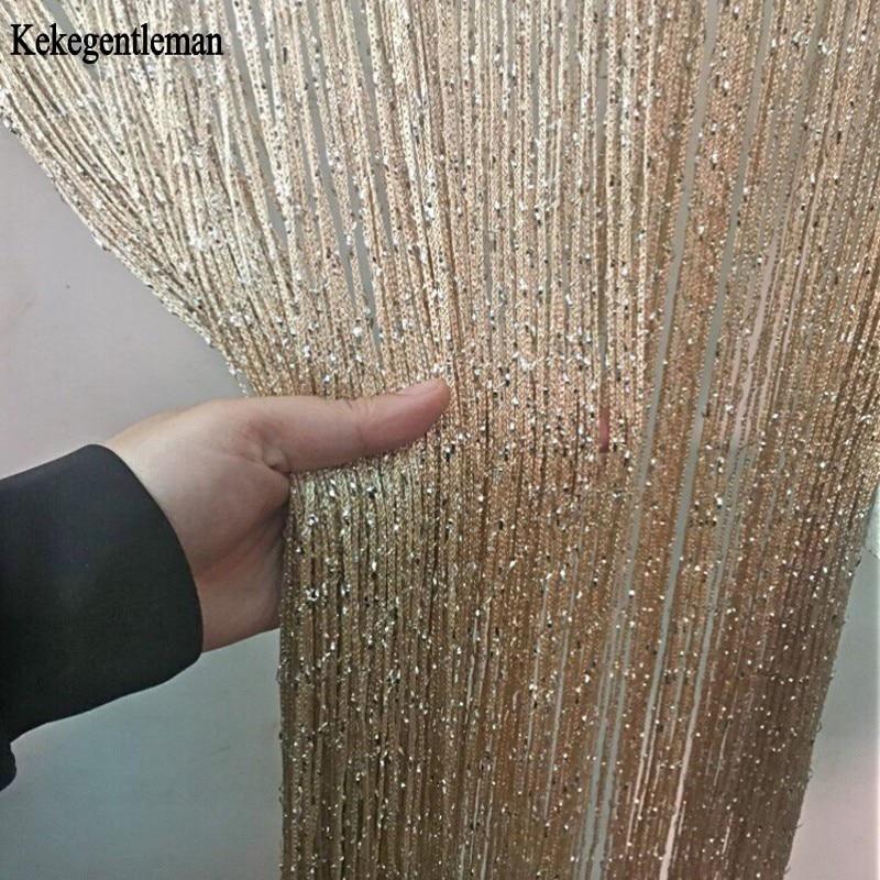 Cortina de cuerda de 3x2,6 m, línea de borla brillante, cortinas, divisor de puerta y ventana, cortina de decoración para sala de estar, cenefa