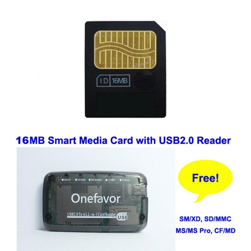 Promoción 16MB Flash Tarjeta de medios inteligentes tarjeta con SD XD MMC CF MS DUO SM lector de tarjetas