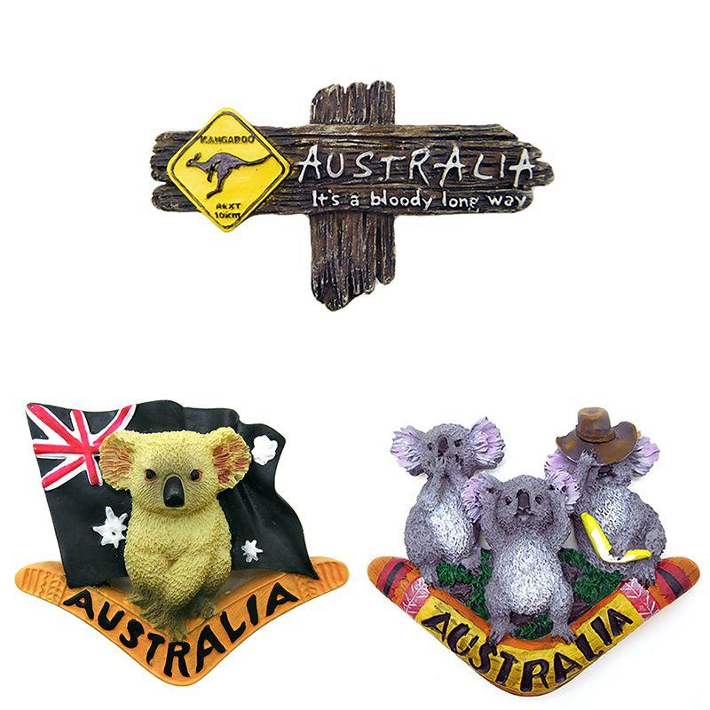 Aimant de réfrigérateur australien 3D   Autocollant kangourou de réfrigérateur, décoration murale pour la maison, souvenirs touristiques, artisanat dart