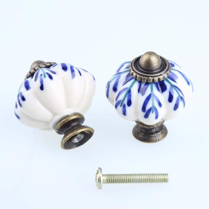 Hand Painted Blue and white porcelain pumpkin knob bronze drawer cabinet dresser handles knobs pulls antique brass ceramic knobs