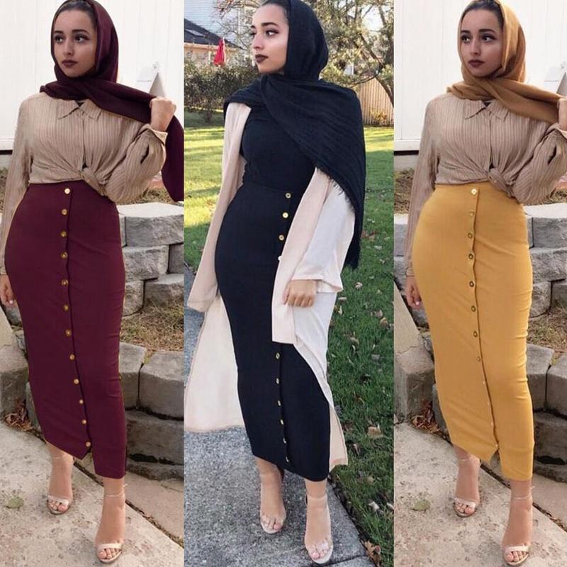 Faldas Mujer Moda invierno 2019 Abaya alta cintura bodycon de botones lápiz Maxi larga falda islámica Falda Mujer Falda larga Mujer