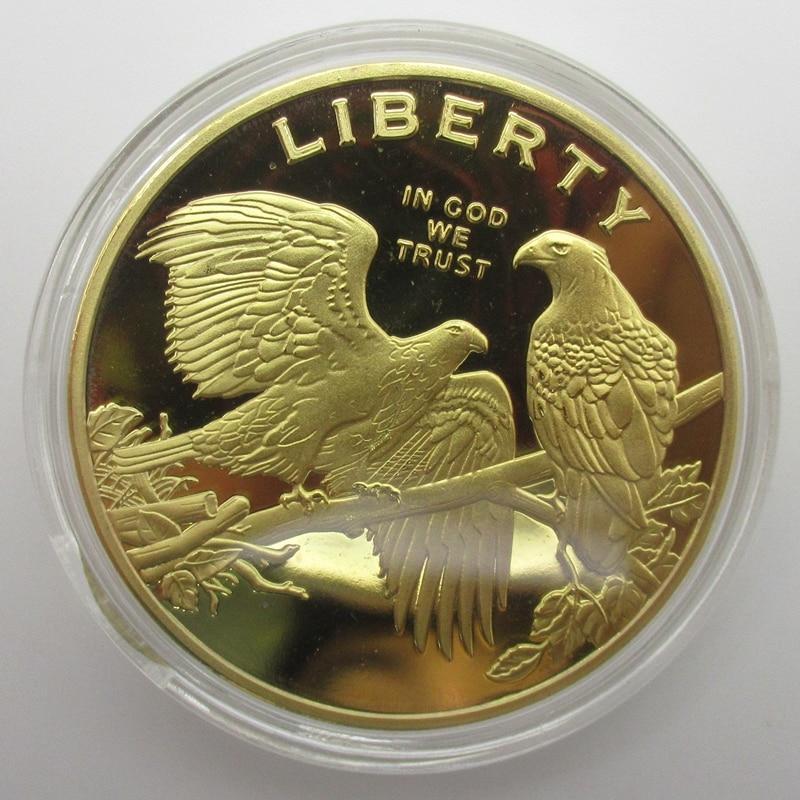 Artesanato de bronze requintado americano águia moedas de ouro liberdade coleção de moedas