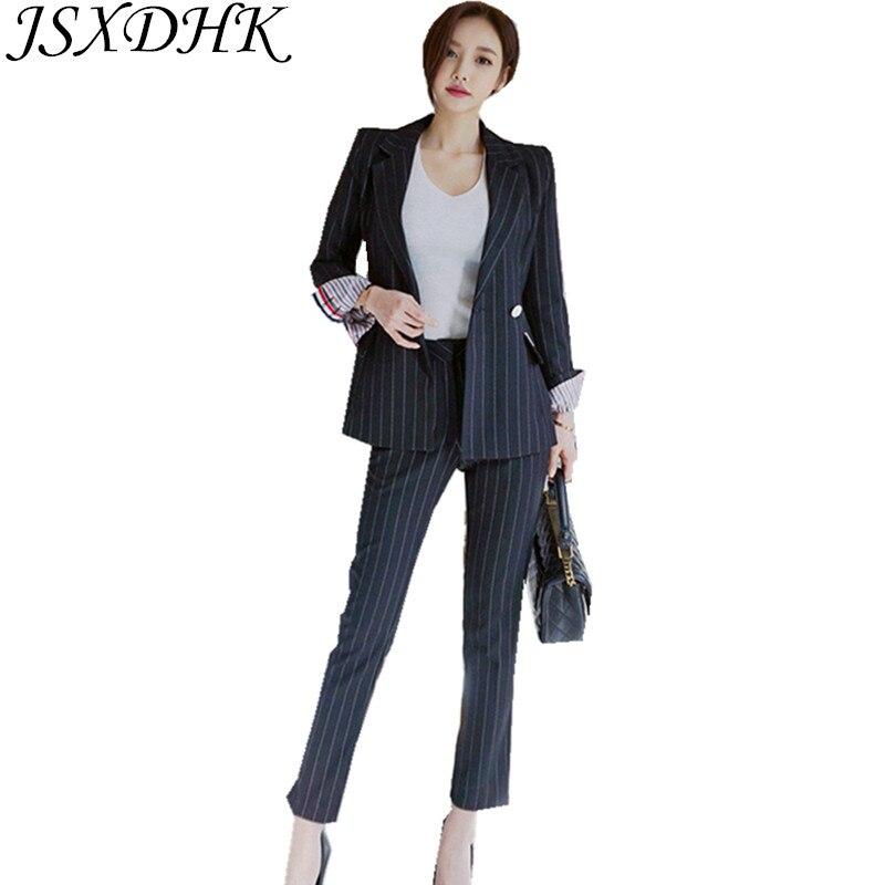 JSXDHK الرسمي النساء 2 قطعة مجموعة 2018 الخريف الأسود مخطط مزدوجة الصدر العمل ارتداء السترة معطف + مكتب قلم رصاص بنطلون الدعاوى