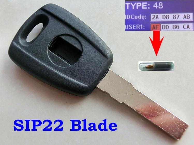 RMLKS, llave transpondedor azul de reemplazo negro con Chip ID48 T5, cuchilla sin cortar para Fiat Bravo Punto Ducato, Scudo diario