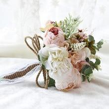 Wedding accessories 2019 new simulation fabric pretty champagne green buque de noiva cheap bridal bouquet fast delivery