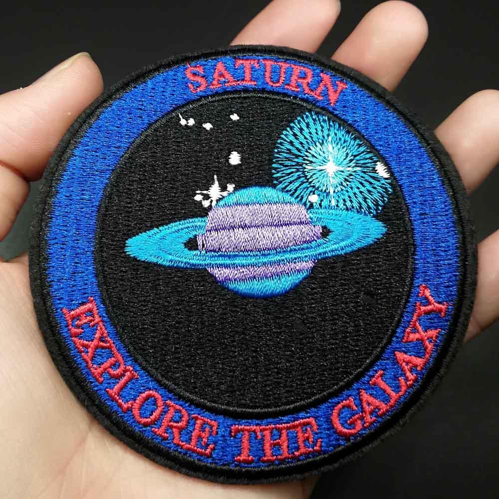 Saturn Hubble Space Thema Ijzer Op Geborduurde Kleding Patches Voor Kleding Stickers Kledingstuk Groothandel
