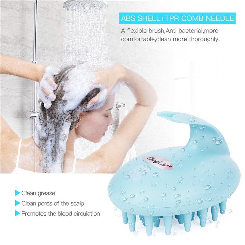 Massageador de couro cabeludo elétrico à prova dwaterproof água cabeça massagem pente promover a circulação sanguínea escova macia cérebro cabeça estresse aliviar massageador 31
