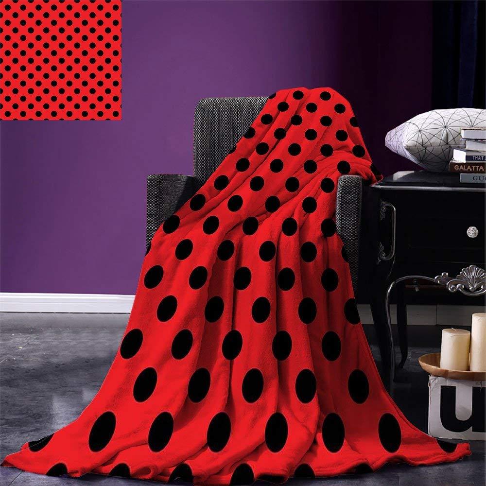 Red and Black Throw Blanket Retro Vintage Pop Art Theme Old 60s 50s Rocker Inspired Bold Polka Dots Image Microfiber