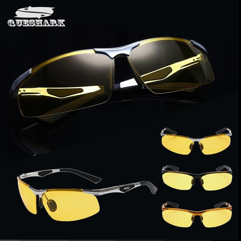 Мужские очки для рыбалки из алюминиево-магниевого сплава, очки ночного видения с желтым светом, антибликовые поляризованные солнцезащитны...