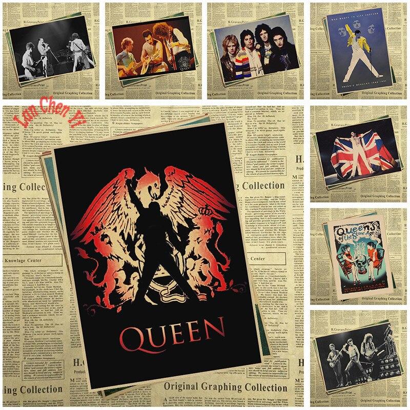 Музыкальный постер из крафт-бумаги с группой Queen, винтажный высококачественный постер для рисования, декоративная живопись