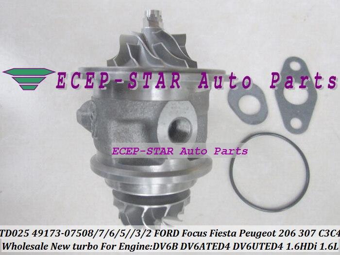 Envío Gratis cartucho Turbo CHRA TD025 49173-07508, 49173-07504 para FORD para Focus Fiesta fusión C-MAX 206, 207 307 C3 C4 1.6L IDH