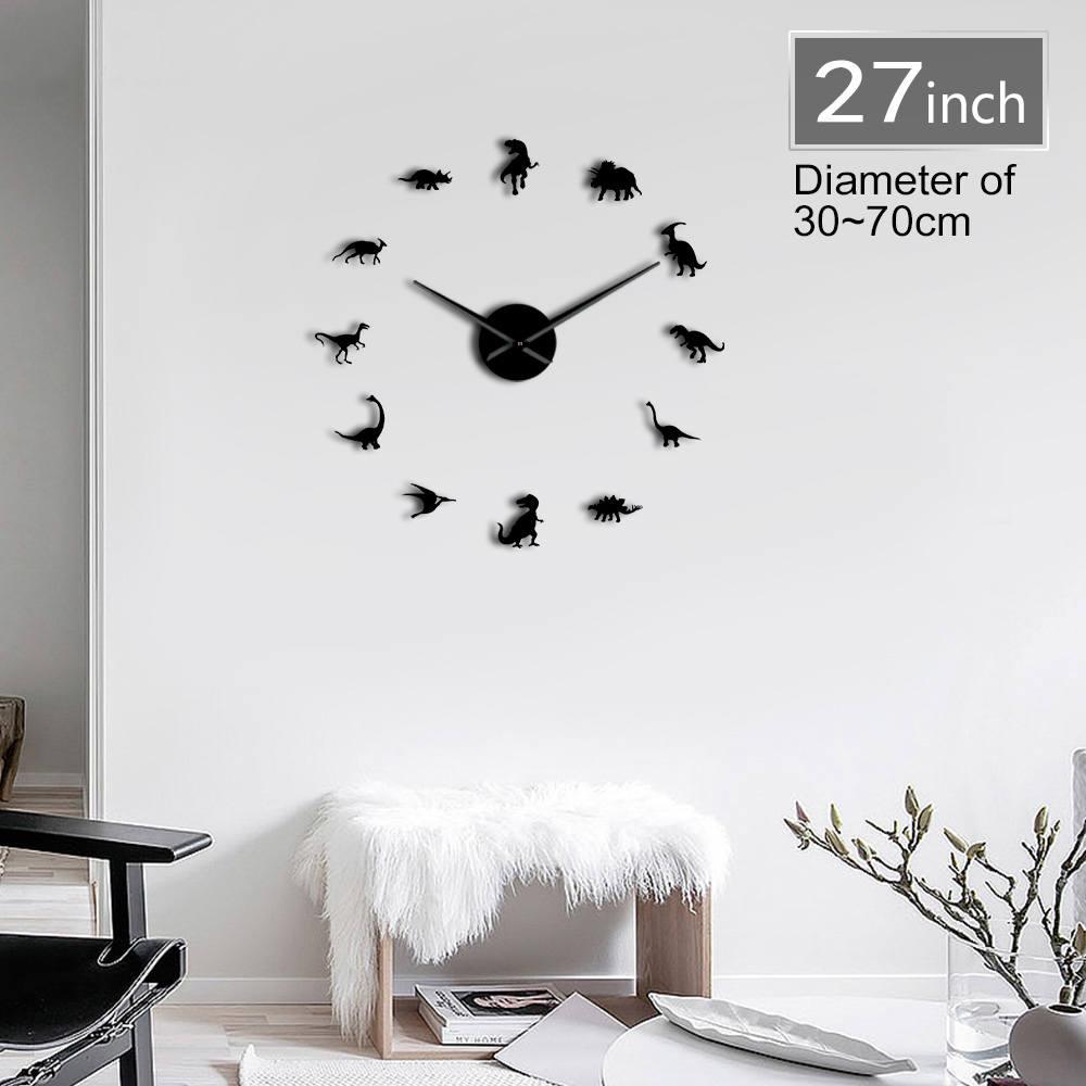 Reloj de pared grande DIY de dinosaurios jurásicos Reloj de pared silencioso gigante moderno efecto espejo 3D decoración de pared para habitación de niños Reloj de pared adhesivo