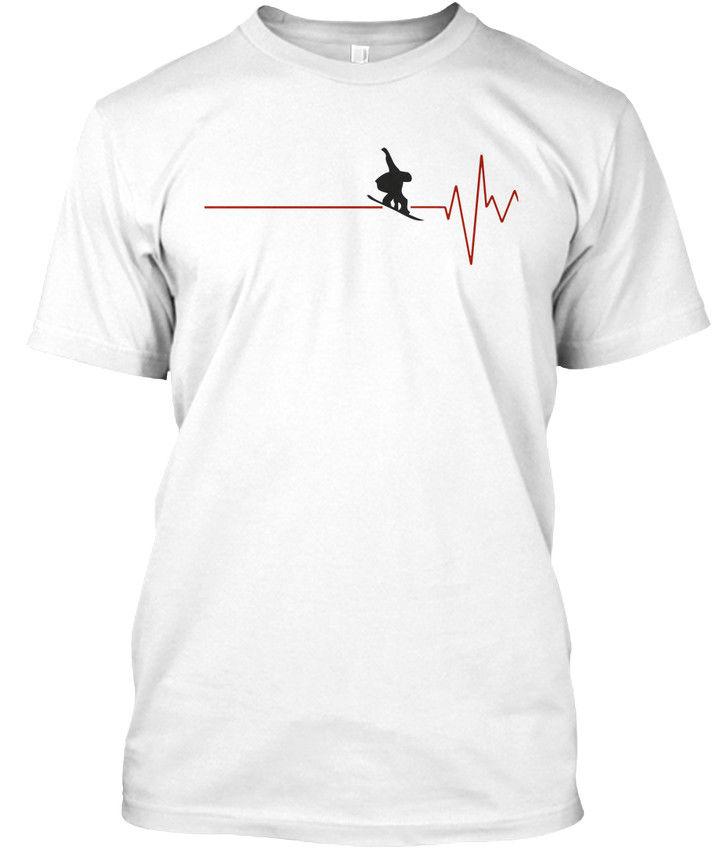 Camiseta de algodón de manga corta para hombre de nuevo diseño, camisetas de Fitness Snowboard Heartbeat. Stylisches Diseña tu propia camiseta