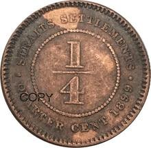 Centaines de 1/4 pièces en cuivre rouge   Pièces de reproduction, a ancienne reine britannique Vitoria, 1899