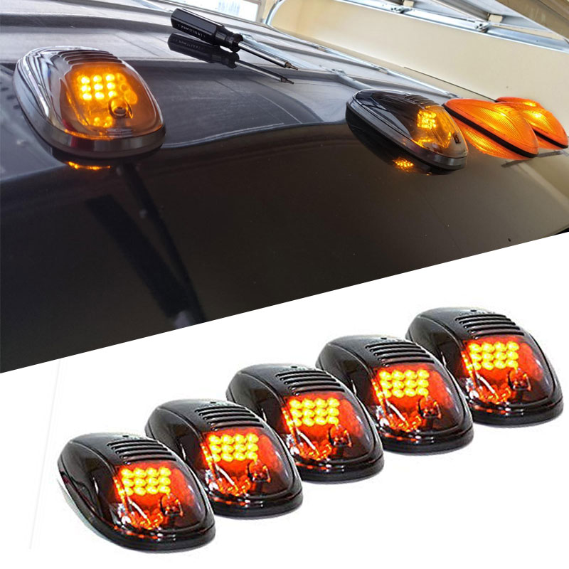 5 unids/set 12 LED NEGRO lente ahumada Cab Roof Top marcador corriendo luz ámbar amarillo LED para Ford camión SUV Pickup Fog Lamp Assembly