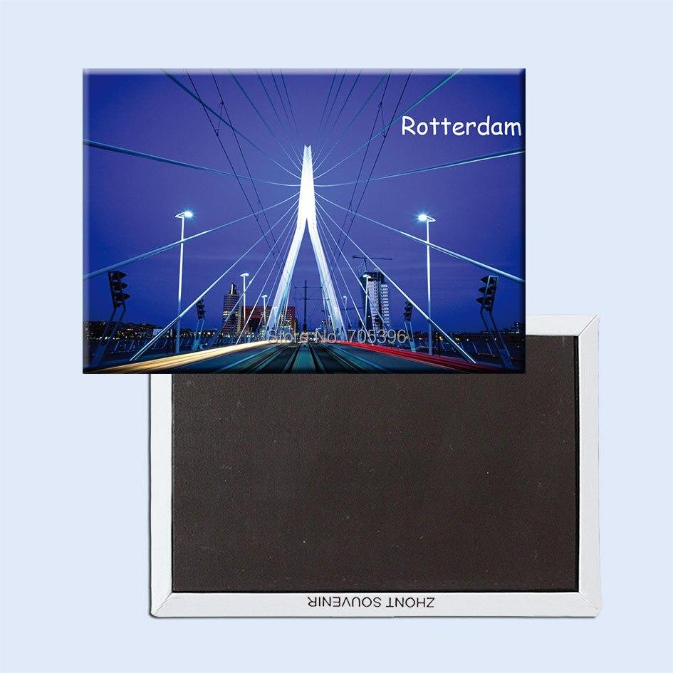 Imanes de nevera para turistas 78*54mm, puente Erasmus de los Países Bajos de róterano Souvenir de imanes de nevera 20756