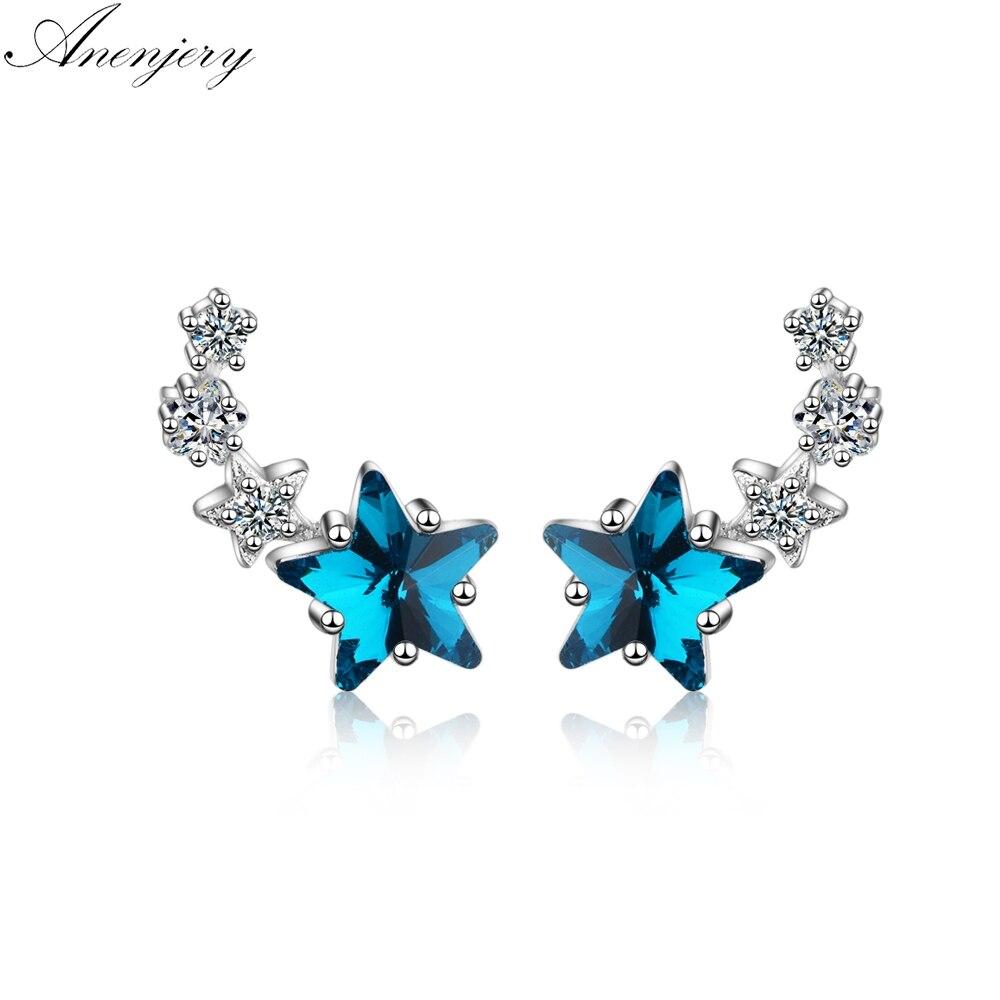 Anenjery милое голубое платье с украшением в виде кристаллов звёздные серьги для женщин серебристый циркониевый сережки oorbellen pendientes S-E767