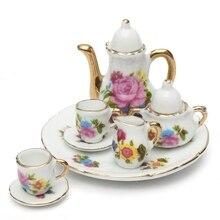 8 pièces/ensemble maison de poupée Miniature salle à manger porcelaine thé ensemble plat tasse plaque Rose Kit Mini décor pour maison de poupée enfants jouets
