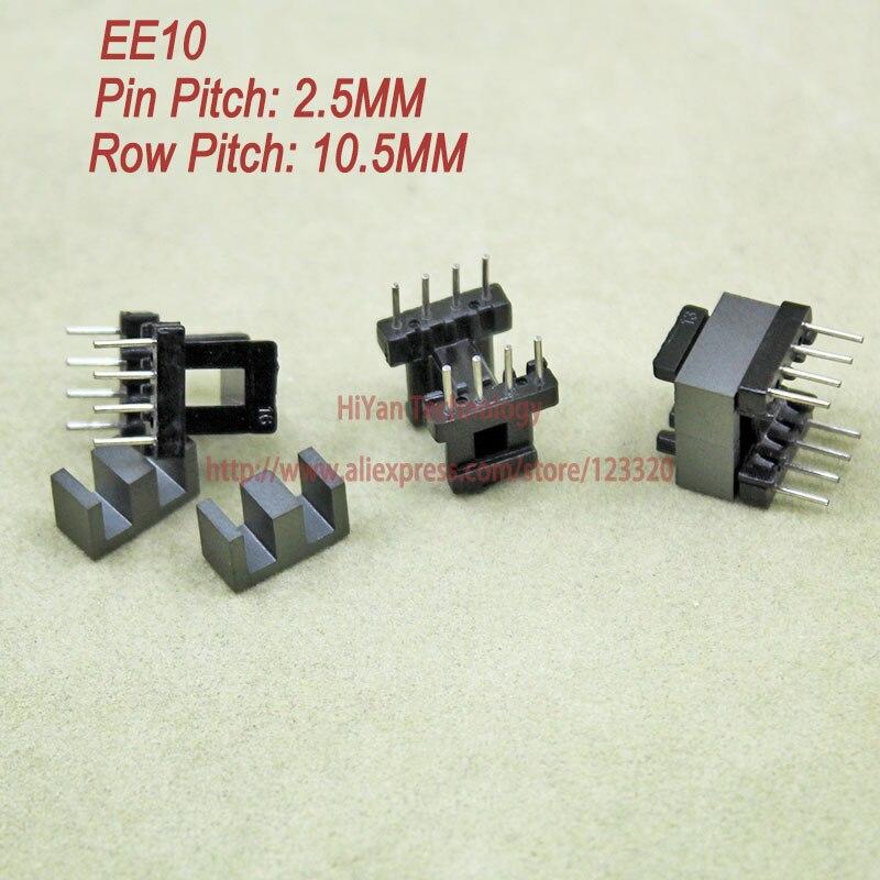 20 set/lote EE10 PC40 núcleo magnético de ferrita y 4 pines + 4 pines bobina de plástico de entrada lateral transformador de voltaje personalizado