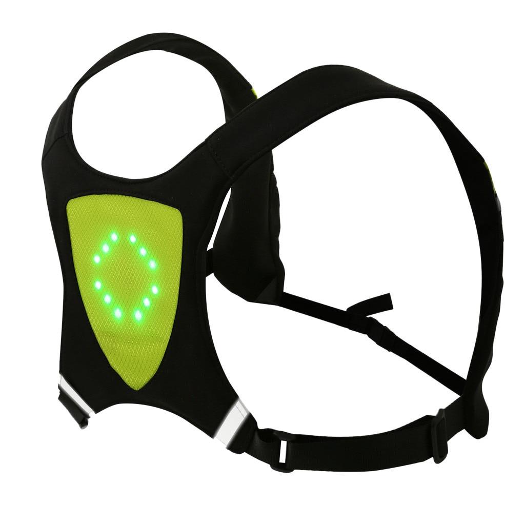 Chaleco de bicicleta LED inalámbrico de seguridad luz de giro chaleco para bicicleta de advertencia nocturna mochila luz guía # g4