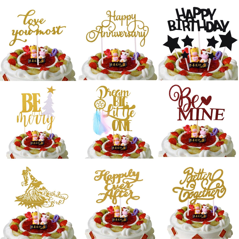 Feliz incluso después de ser Mio Feliz cumpleaños banderas para pastel de boda Topper Be Merry Christmas adornos para tartas de fiesta mejor juntos