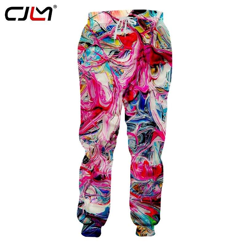 Стильные удобные свободные мужские тренировочные брюки CJLM с 3D принтом, красочные вихревые мужские брюки унисекс, брюки большого размера, оп...