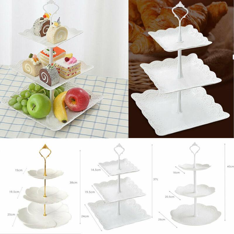 3 Tier Plastic Cake Stand Afternoon Tea Wedding Plates Party Dessert Plate Fruits Vegetable Storage Rack TablewareTool Holder