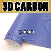 3d carbon fiber deep blue sticker vinyl sheet diy decal air release car wrapping size1 52x30mroll