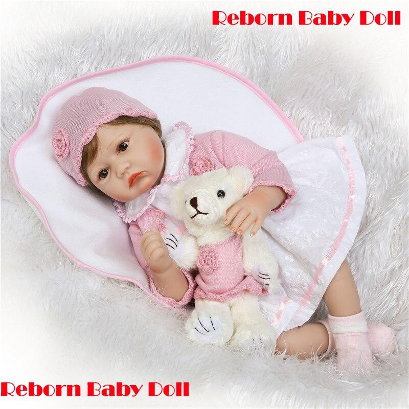 Real bebe menina boneca renascer 55cm silicone macio reborn bonecas crianças brinquedo do bebê bonecas com urso enraizado cabelo