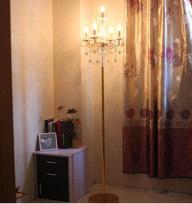 Decoración de boda oro cristal piso luces de fiesta led piso cristal claro candelabro Vertical dormitorio estudio Sala lámpara en forma de piano