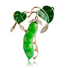 Emaille Grün Pea Broschen Für Frauen Gold Farbe Kristall Simulierte Perle Corsagen Pullover Mantel Brosche Pins Dekoration Zubehör