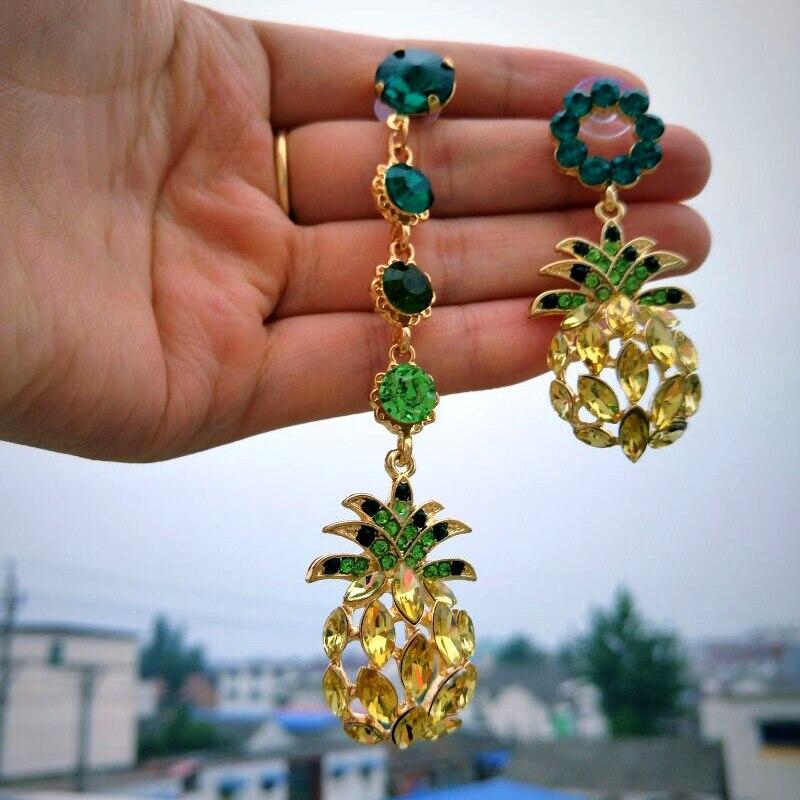 JURAN אננס קריסטל Drop להתנדנד עגילים לנשים 2019 מכירה לוהטת Boho ריינסטון הצהרת עגיל תכשיטים Bijoux