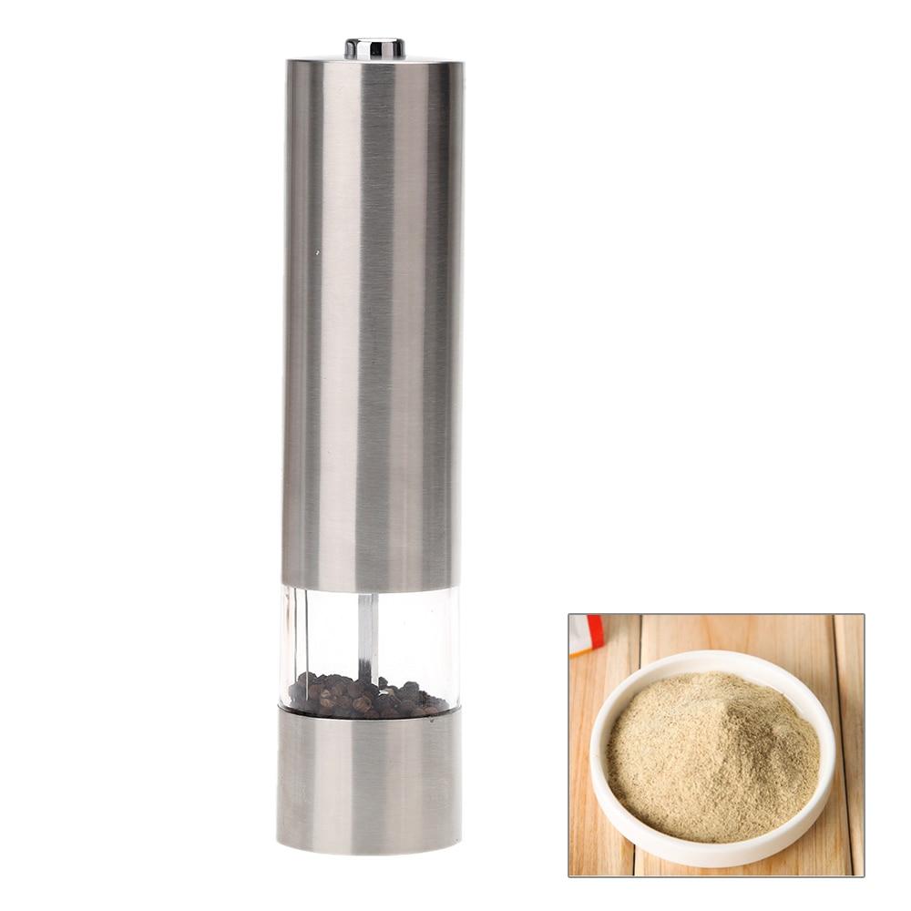 Portátil de acero inoxidable eléctrico molinillo de pimienta Muller molino con luz cocina condimento herramienta de molienda