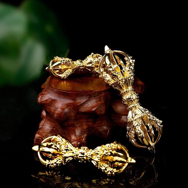 Six Words Scripture Gold Gilding Quality Five Shares Opening Light Amulet Buddhist Tibetan Nepal Pendant Vajra Crafts