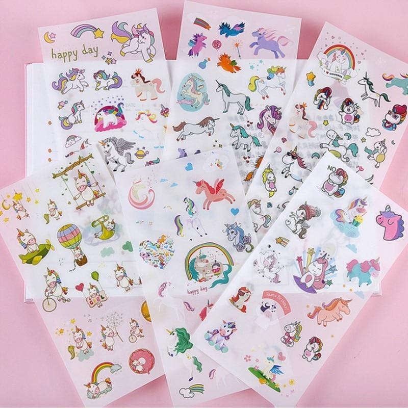 6-lenzuola-pack-arcobaleno-unicorn-set-di-adesivi-decorativi-cancelleria-adesivi-scrapbooking-fai-da-te-diario-album-di-etichetta-bastone