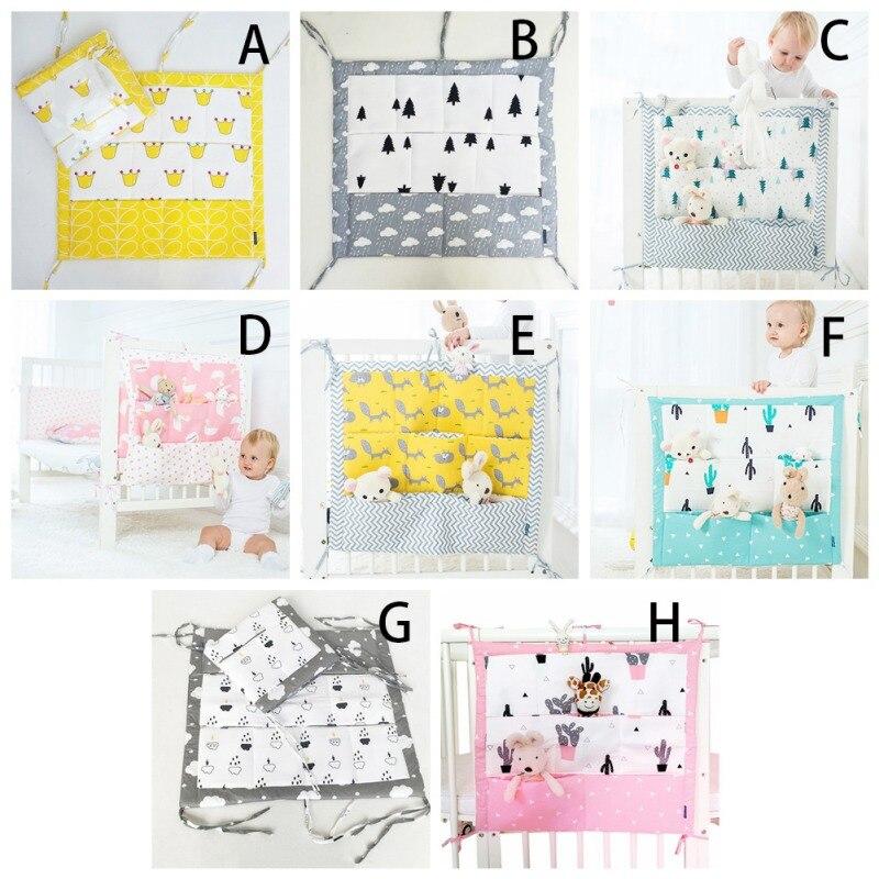 Bolsa de almacenamiento colgante de cama de muselina para cuna de bebé, organizador de cuna de algodón de marca, 60*50 cm, bolsa de pañales de juguete para cuna, juego de cama