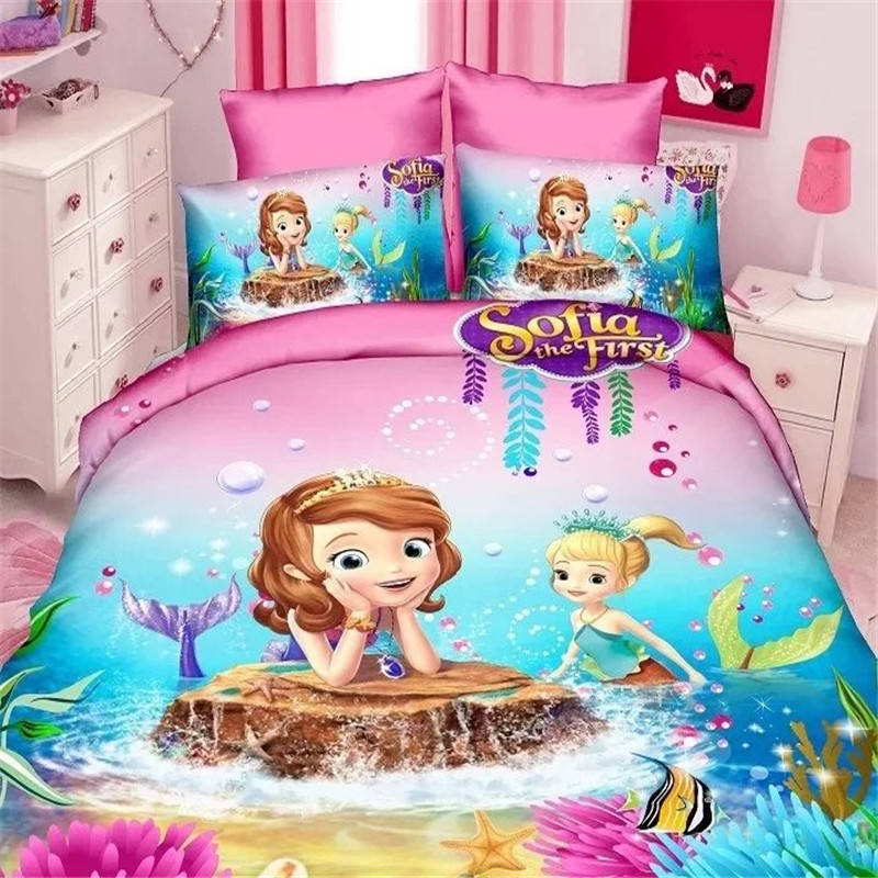Bonito juego de cama de princesa Disney Sophia, tamaño Individual Doble para niñas, cama de Blancanieves, edredón estampado en 3d, fundas de edredón, ropa de cama de dibujos animados
