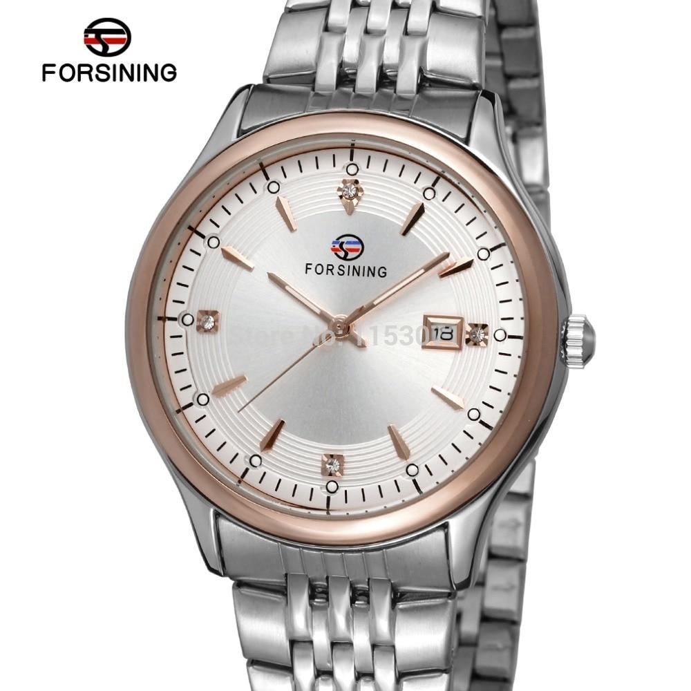 Forsining Men's Watch Top Quality Quartz Stainless Steel Bracelet Casual Luxury Wristwatch Color Silver Gift Box FSG8088Q4T3